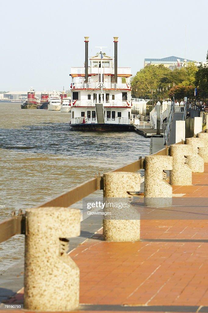Passenger ship in a river, Savannah River, Savannah, Georgia, USA : Stock Photo