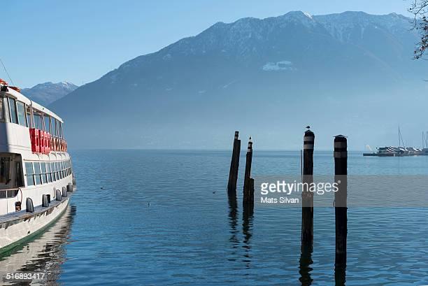 Passenger ship on alpine lake
