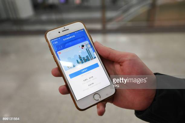 A passenger take the subway without buy ticket but scan Alipay code on 27th December 2017 in Hangzhou Zhejiang China