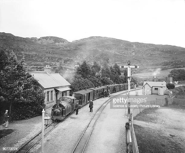 Passenger train at TanY Bwlch station Gwynedd on the Ffestiniog railway about 1909 This town is famous for its narrow gauge railway which was mainly...
