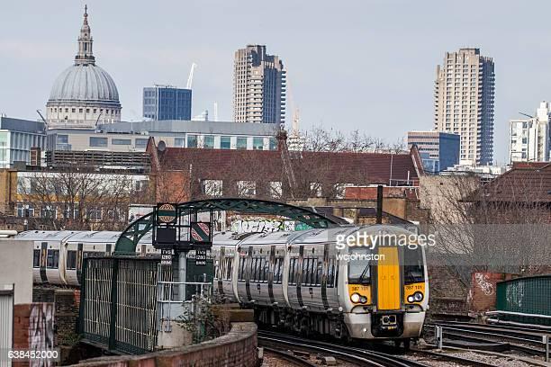 gtr passenger train london - barbican centre london stock pictures, royalty-free photos & images