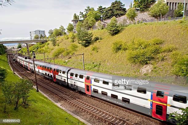 passenger train - double decker bus stock pictures, royalty-free photos & images