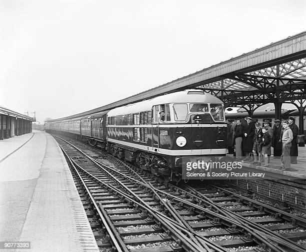 Passenger train pulled by a diesel locomotive number D5500 at Clacton station Essex 11 November 1957 Steam traction was starting to be phased out in...
