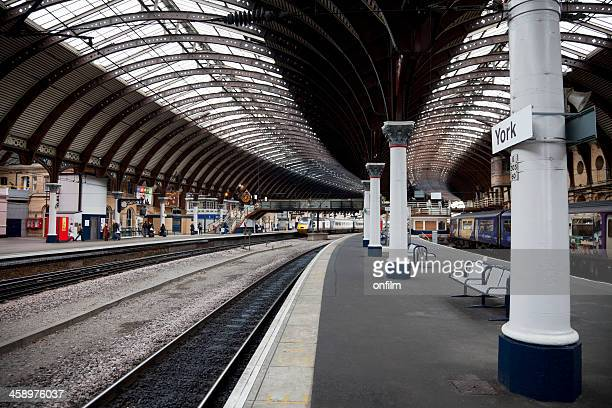 passenger trains, curved platforms - york stock photos and pictures