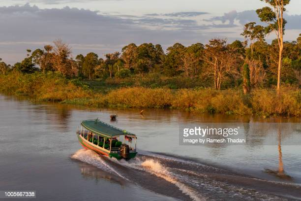 Passenger transport - speed boat at sunrise in the Amazon
