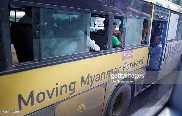 Passenger transportation in Yangon on June 16 2016 in Yangon Myanmar
