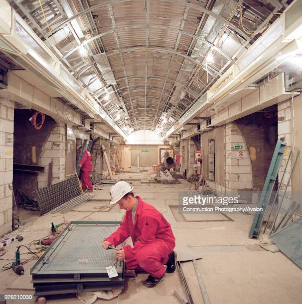 Passenger tunnel during refurbishment of Angel Underground station London United Kingdom