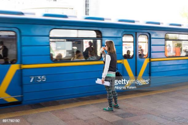 Passenger waiting to train in Kiev Underground Station, Ukraine