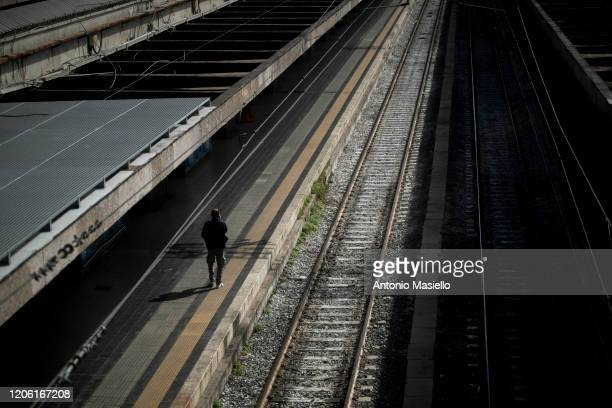 Passenger waits at the Termini Central Station during the Coronavirus emergency, on March 9, 2020 in Rome, Italy. Italian Prime Minister Giuseppe...
