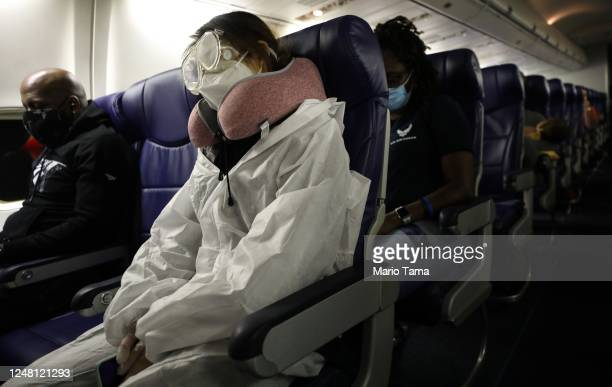 Passenger wears personal protective equipment while aboard a Southwest Airlines flight from Los Angeles, California to Houston, Texas on June 7,...