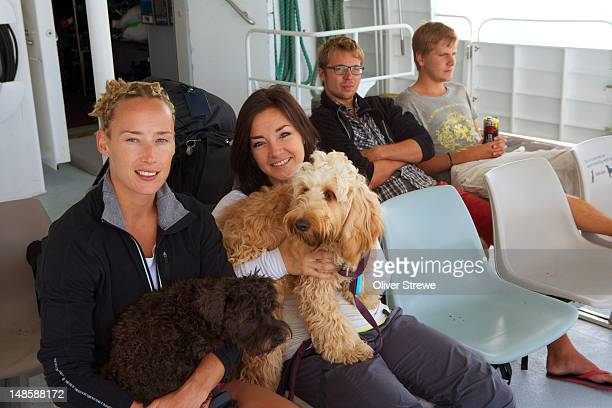 Passengers and dogs on the Waiheke ferry.