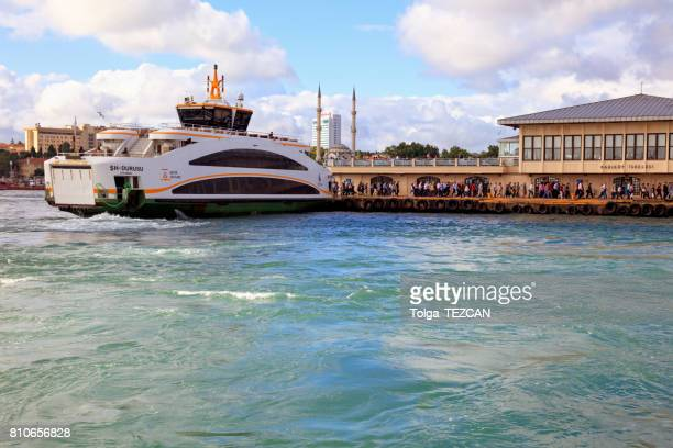 passengers and istanbul ship - kadikoy stock photos and pictures