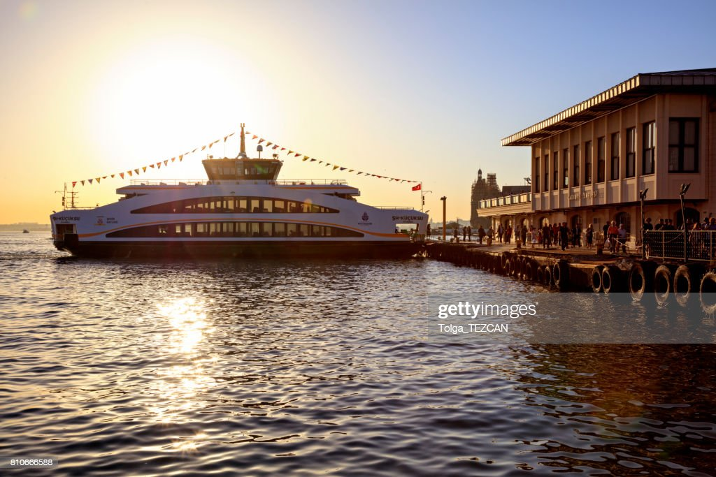 Passengers and Istanbul Ship : Stock Photo