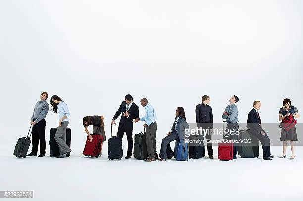 Passengers and travelers waiting in line