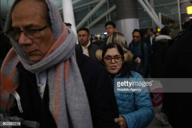 Passengers are seen during the weatherrelated cancellation at the John F Kennedy Airport in New York United States on January 08 2017 Passengers also...