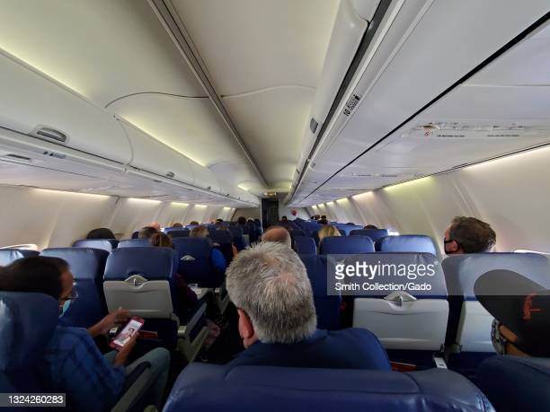Passengers are visible aboard a Southwest Airlines flight in air, May 28, 2021.