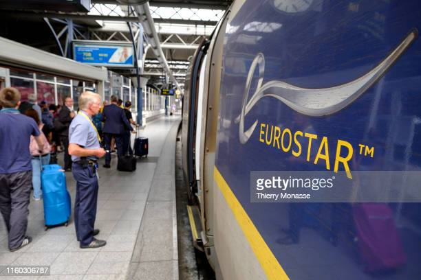 Passengers are waiting for the departure of an Eurostar from Brussels to Amsterdam on August 7 2019 Eurostar International Ltd is a FrancoBritish...