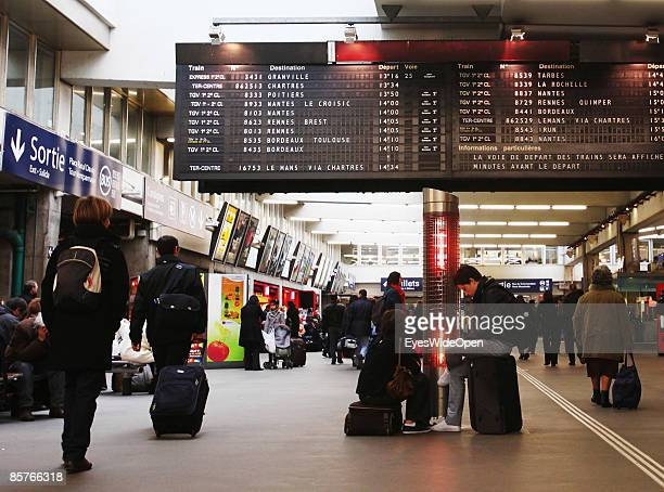 Passengers are waiting in the SNCF railwaystation Gare de Montparnasse in Paris FEBRUARY 25 2009 The TGV highspeed trains depart from here