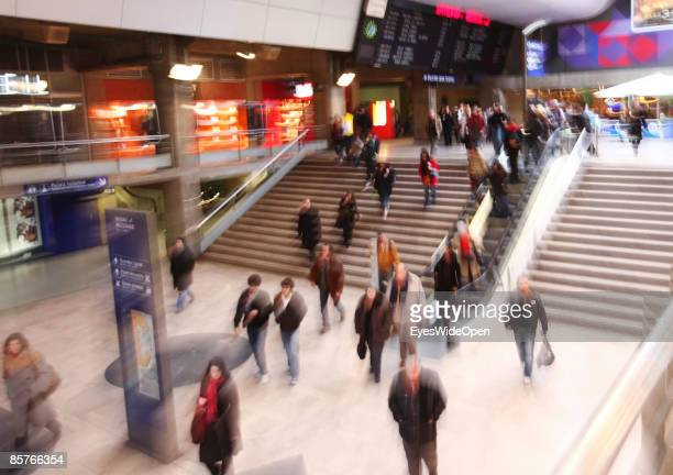 Passengers are walking to the metro in the SNCF railwaystation Gare de Montparnasse in Paris FEBRUARY 25 2009 The TGV highspeed trains depart from...