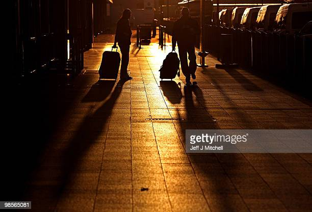 Passengers arrive at Glasgow Airport on April 20 2010 in Glasgow Scotland Scottish airspace reopened this morning as the restrictions were lifted...