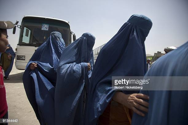 Passengers arrive in Kabul AfghanistanÕs Baraki bus terminal having traveled from the countryÕs northern provinces originating in MazariSharif August...