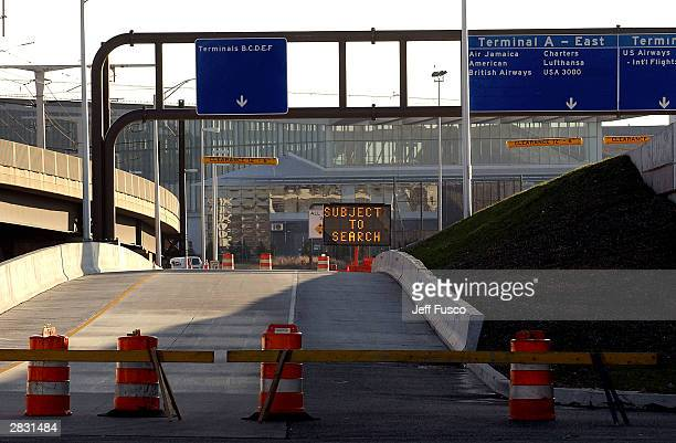 Passengers arriving at Philadelphia International Airport face security detours on December 25 2003 in Philadelphia Pennsylvania US authorities...