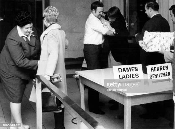 Passengers at Airport BerlinTempelhof have to endure strict security checks on the 17th of October in 1973 After the arrest of APO lawyer Horst...