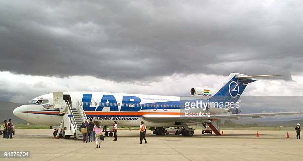 Passengers at Cochabamba airport board a Lloyd Aereo Boliviano Boeing 727 destined for Santa Cruz de la Sierra in Eastern Bolivia Tuesday December 20...