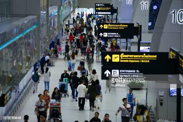 Passengers at Don Mueang International Airport in Bangkok Thailand 7 January 2019