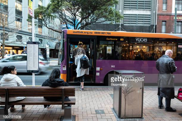 Passengers board a Metlink bus operated by Greater Wellington Regional Council in Wellington New Zealand on Wednesday July 18 2018 New...