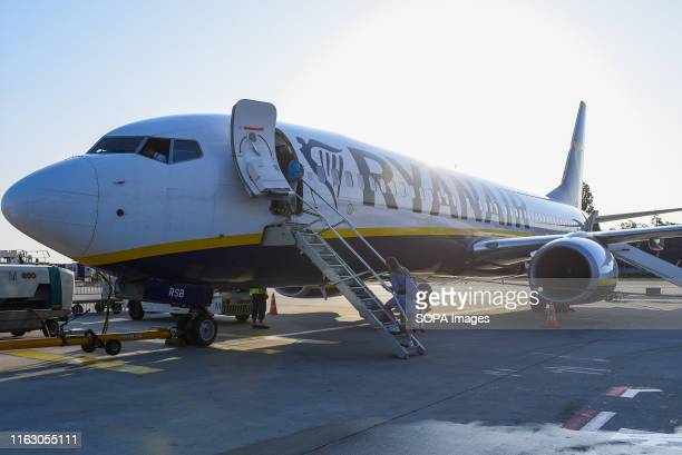 Passengers board the Ryanair Boeing 737-800 Aircraft at the Berlin Tegel international airport.