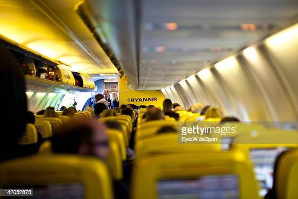 Passengers boarding for departure of a RyanAir flight to Alicante Spain at Allgaeu Airport on February 18 2012 in Memmingen Germany