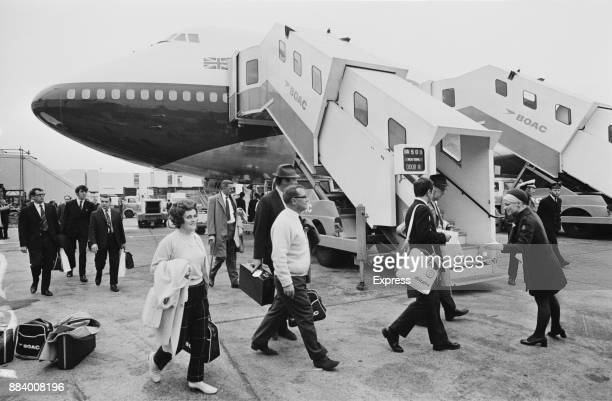 Passengers boarding on the first BOAC's Jumbo Jet 747 used for a commercial flight from London Heathrow to New York UK 14th April 1971