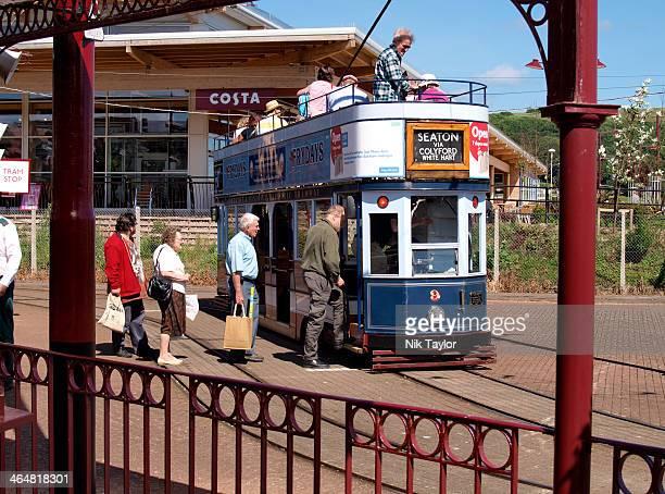 Passengers boarding the tram at Seaton, Devon, UK