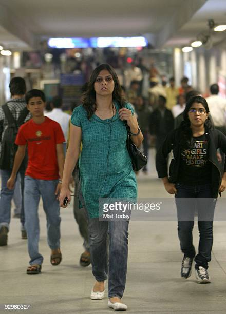 Passengers coming out from the Rajeev Chowk metro station after metro services were disrupted when a newly inducted Bombardier train developed a snag...