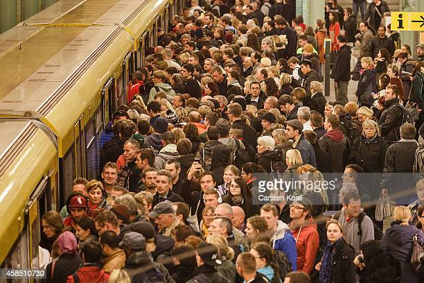 Passengers crowd the doors of the subway train retracted U5 line at the station Alexanderplatz during a fourday strike by the GDL train drivers labor...