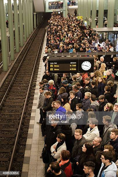 Passengers crowd to the doors of the subway train retracted U5 line at the station Alexanderplatz during a fourday strike by the GDL train drivers...