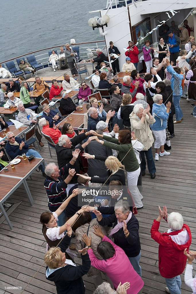 Passengers Dancing During Fruhschoppen Bavariantheme Party Aboard - Cruise ship theme party