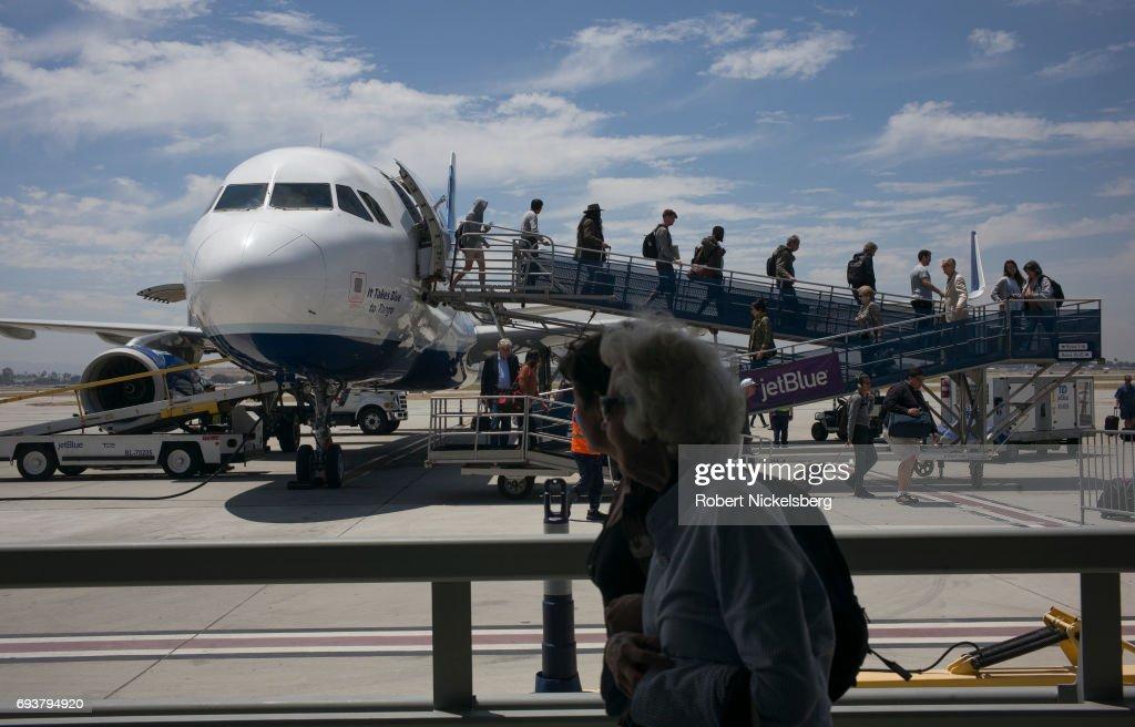 JetBlue Passengers Deplane In Long Beach California Airport : News Photo