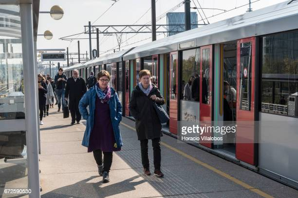 Passengers detrain at Amsterdam South Metro station on April 20 2017 in Amsterdam Netherlands The city's Metro system was first introduced in 1977 It...