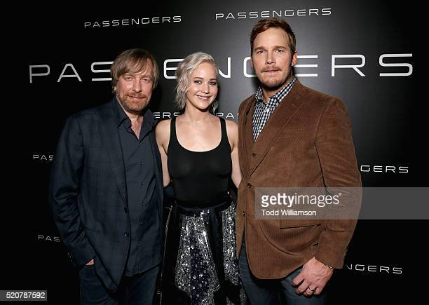 Passengers' director Morten Tyldum, actress Jennifer Lawrence and actor Chris Pratt attend CinemaCon 2016 An Evening with Sony Pictures...