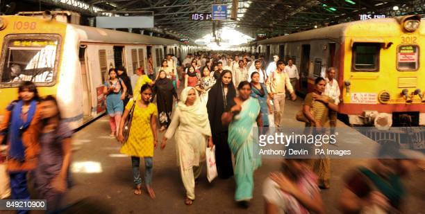 Passengers disembark trains in Chhatrapati Shivaji Terminus formerly Victoria Terminus in Mumbai India PRESS ASSOCIATION Photo Picture date Tuesday...