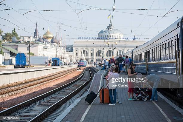 Passengers disembarking Lviv-Odessa train in Odessa, Ukraine