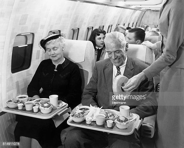 Passengers enjoy a meal inside a mockup of the Boeing 707 Stratoliner Development of the Stratoliner began in the 1950s with the race to capture the...