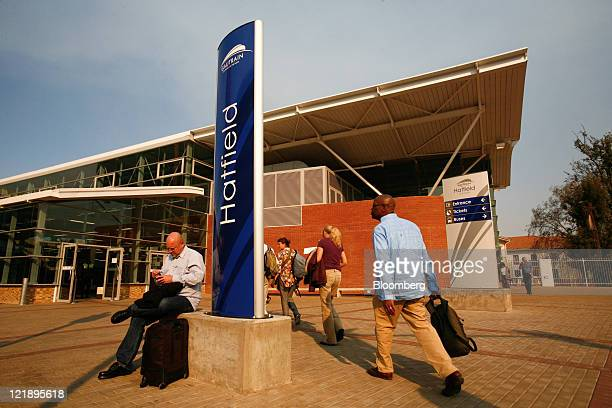 Passengers enter Gautrain's Hatfield mass transit rail station in Pretoria South Africa on Monday Aug 22 2011 South Africa expanded its rapidrail...