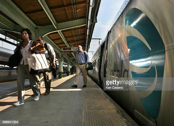Passengers exit an Amtrak's Acela train at Union Station July 12 in Washington DC The Acela is back on track again after a series of repairs needed...
