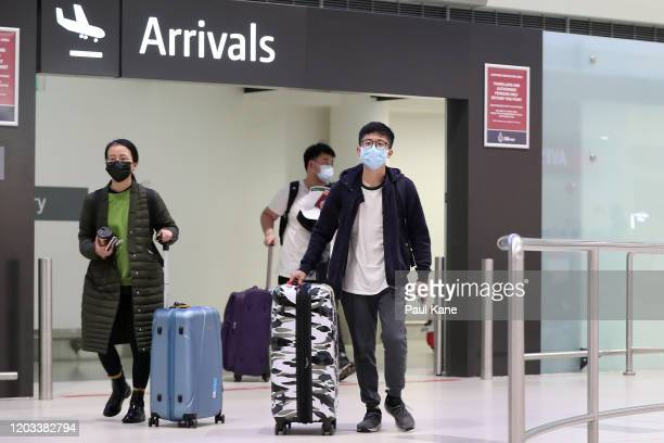 Passengers from China Southern Airlines flight CZ319 arrive at Perth International Airport on February 02 2020 in Perth Australia The number of those...