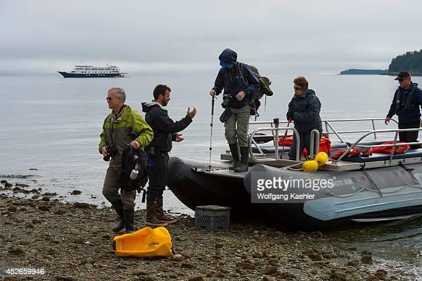 Passengers from cruise ship Safari Endeavour landing at Idaho Inlet on Chichagof Island Tongass National Forest Alaska USA
