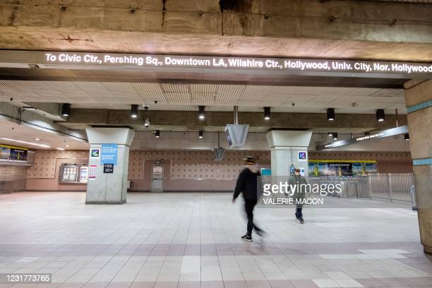 Passengers get out of the Red Line at the Union Station, downtown L.A. Where part of the Oscars Ceremony will take place Sunday, April 25, in Los...