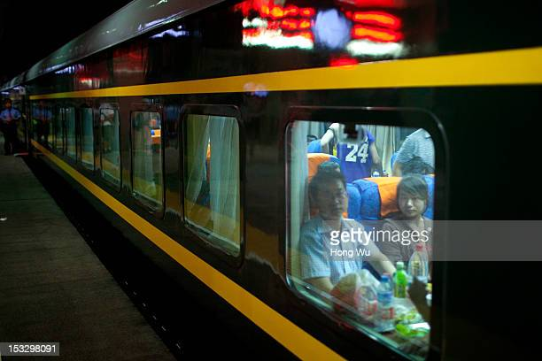 Passengers in a train carriage of from Beijing to Lhasa on August 14 2012 in Taiyuan China After QinghaiTibet Railway went into operation on July 1...